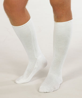 Therapeutic knee sock in white silk for men