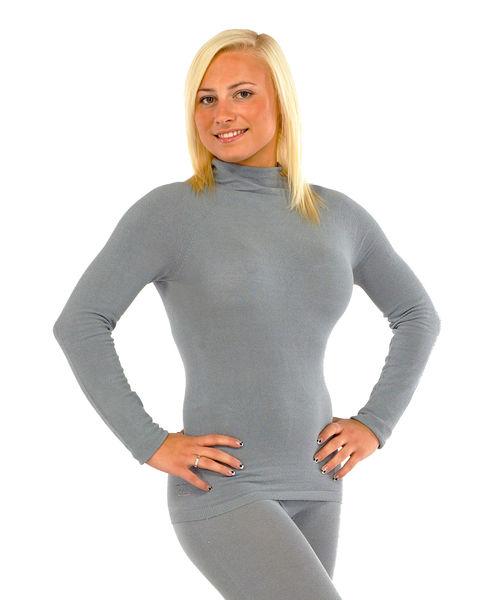 Long sleeved top in silk for women