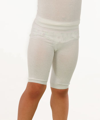 Shorts in white viscose for boys and girls