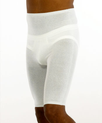 Shorts in white viscose for men